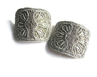 Cut Steel Bead Shoe Clips Buckles French Bridal Finding Appliques Rare Sewing Jewelry Supply Assemblage