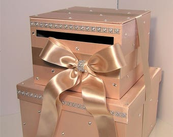 Wedding Card Box Rose Gold andChampagne ,Gift Card Box Money Box  Holder Sweet 16--Customize your color