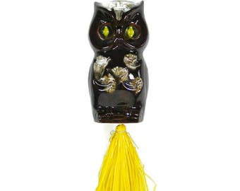 Ceramic Owl Wind Chime with Yellow Cats Eye Marble Eyes Vintage Patio Decor