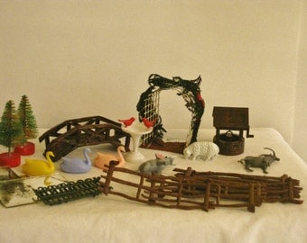 Collection of Plasticville Train Accesories, Miniature plastic Model Train Scenery, Bridge Birdbath, Garden Arch Wishing Well, Ducks, Animal