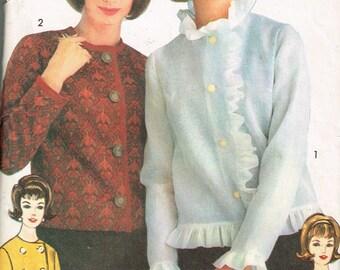 60s Womens Jacket Pattern Advance 3103 Sew Easy Bust 32 Womens Ruffled Jacket Jackie O Style Vintage 1960s Uncut Sewing Pattern