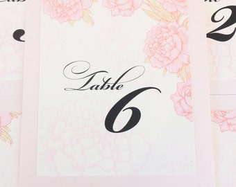 Peonies Table Number Wedding Decor Reception Sign Cards Made to Order Floral Custom Color and Font Spring Blooms Blossom
