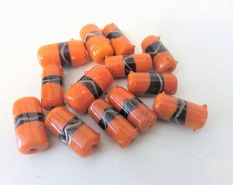 Orange Glass Lamp Work rectangle beads ,  13 beads