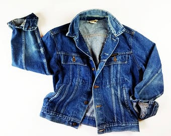 60s Vintage Denim Jacket 1960s Denim Workwear Faded Distressed Jean Jacket Dark Denim Ranchwear Denim Vintage Blue Jean Jacket Slim Fit