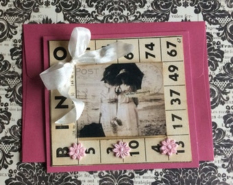 Vintage Style Valentine featuring Vintage Bingo Card and Old Photo