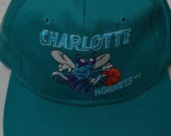 Vintage 90's CHARLOTTE HORNETS Snapback Baseball Hat Cap Basketball Nba