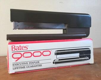 Vintage 1990s Bates 9000 Executive Black and Faux Bois Stapler. Original Box.