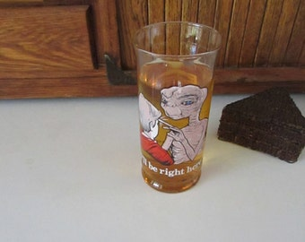 """E. T. the Extra – Terrestrial Collectible Glass – """"I'll be right here"""" – Pizza Hut Collector's Series – Vintage Movie Advertising Glass"""