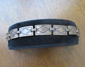 Southwestern Diamond Design Copper Bracelet - Vintage Copper Jewelry