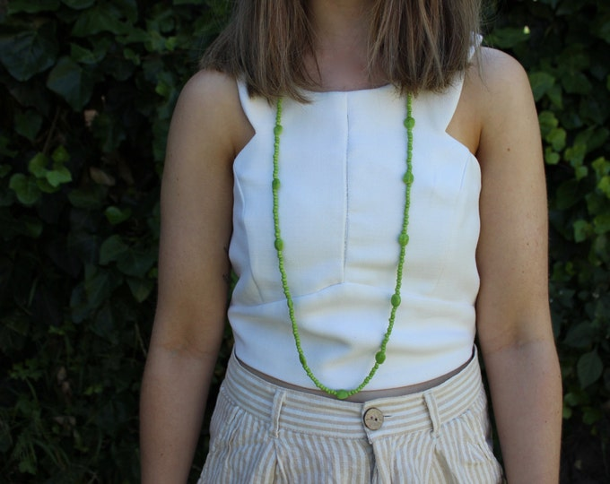 Beaded Green Layering Necklace.