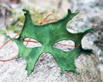 Green Oak Leaf Split Leather Mask