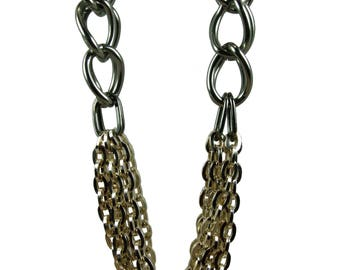 Gunmetal and Gold long necklace