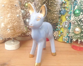 "Vintage blue purple ceramic deer with gold ears and hoofs. Approx. 6"" tall. Vintage deer. Home decor. Mantel decoration."