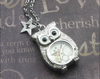 Steampunk Personalized Owl Necklace, Initial Jewelry, Steampunk Owl Robot, Vintage Watch, Silver Owl Necklace, Wedding Bridesmaid LOVE GIFT
