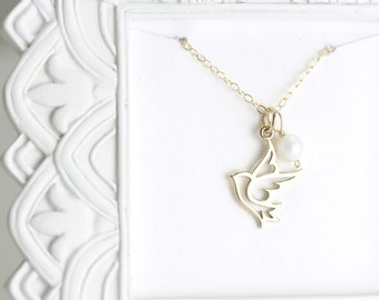 Gold Dove Necklace  - Gold Bird Necklace - Custom Memorial Necklace - Personalized Christian Necklace - Personalized Baptism Gift for Her