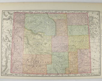 Antique Colorado Map 1897 Rand McNally Map of Colorado, CO Map, Western Decor Gift for Guy, Colorado Gift for Coworker, Office Wall Art