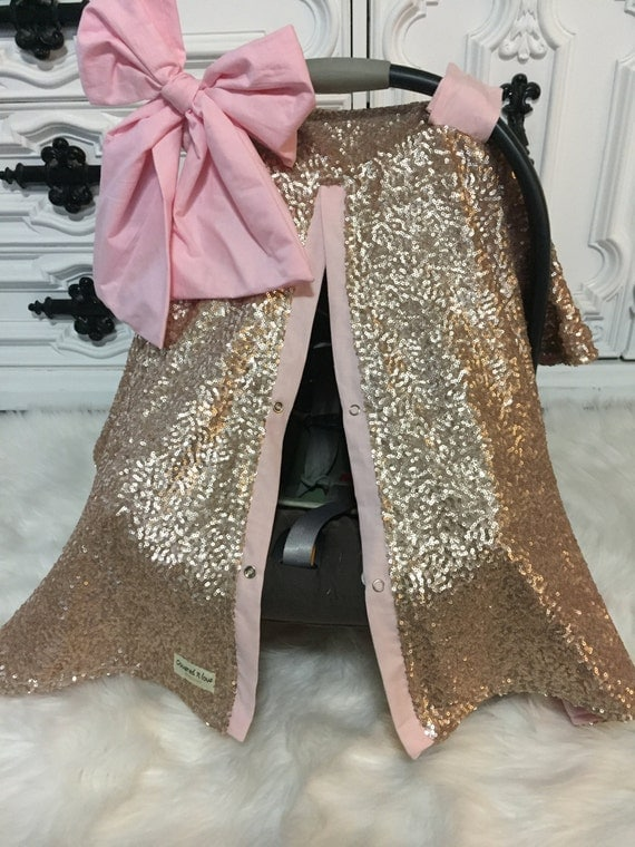 Gold sparkle car seat canopy , Gold and Light Pink , Comes with JUMBO bow