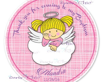 Baby Angel Baptism Stickers -Baby Girl Baptism Labels -Angel Girl Stickers -Custom Baptism Stickers -Personalized Girl Baptism Labels