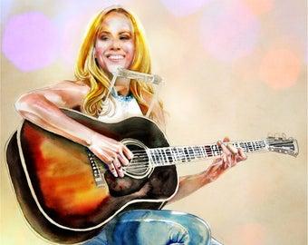 Sheryl Crow, watercolor portrait, portrait art, custom watercolor portrait, Rock, Country, Blues, Pop singer songwriter, Feels Like Home