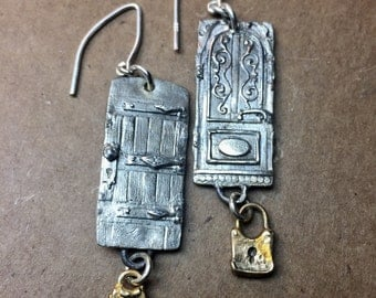 Sterling and bronze door earrings woth charms
