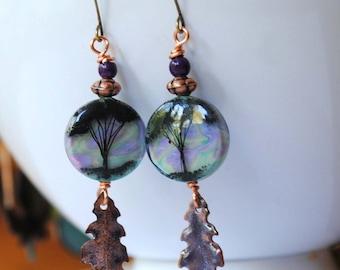 Tree Earrings, Woodland Earrings, Leaf Earrings, Lampwork Glass Bead Earrings, Purple Earrings, Boho Chic Earrings, Silouhette Earrings