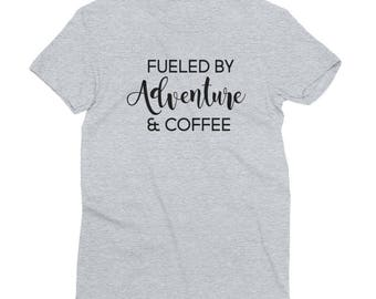 Fueled by Adventure and Coffee Shirt - Women's Short Sleeve Tshirt - Adventure & Coffee Tee - Made in the USA - Created by Braymont Designs