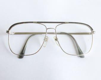 Vintage 1980's Sutton Silver Aviator Eyeglasses