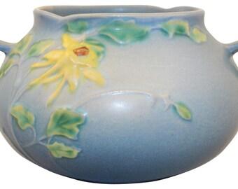 Roseville Pottery Columbine Blue Bowl 399-4
