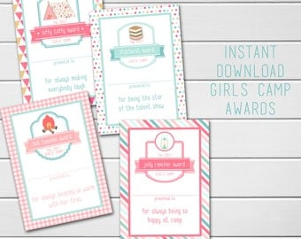 Young Women Girls Camp Awards, LDS Girls Camp, Blank Awards, Candy Treat Award Ideas & Cards, Instant Download, Mormon, Mutual Girls Camp