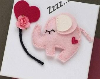 Wool Felt Snap Hair Clip, Elephant Felt Hair Clip, Light Pink- Medium size