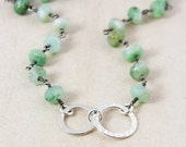 VALENTINE SALE Green Chrysoprase Necklace – Sterling Silver Hoops