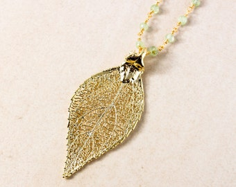 Gold Evergreen Leaf Necklace - Green Peridot Chain - Leaf Jewelry, Layering Necklace