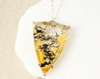 Triangular Dendrite Quartz Necklace - Yellow Dendritic Quartz - Statement Necklace