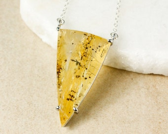 Triangular Golden Yellow Dendritic Quartz Necklace - Dendrite Quartz - OOAK