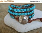 25% OFF SALE New Mexico Turquoise Leather Beaded Wrap Bracelet