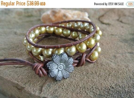 25% Off Sale Golden Freshwater Pearl Beaded Leather Wrap Bracelet