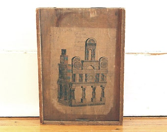 Vintage Rustic Wood Box Handmade with Primitive Architecture Building Block Illustration.