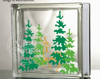 Vinyl Lettering Glass Block Decal Pine Trees