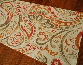Table Linens, Table Runner with Orange and Green Paisley, Modern Table Decor, Dining Table Decor, Coffee Table Runner, Fall Home Decor