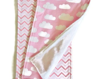 Burp Cloths, Flannel and Terrycloth, Set of 2, Pink and White, Baby Shower Gift, Baby Girl Gift, Pink Chevron, Cloud Print