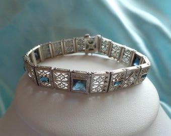 """Vintage Sterling Silver Art Deco Sapphire Blue Crystal 15.1g Bracelet 6.75"""" Designer Wedding Day"""