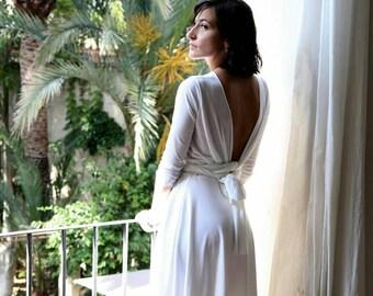 White wrap dress, short wedding dress with sleeves, short reception dress, short white dress, simple wedding dress with sleeves, white dress
