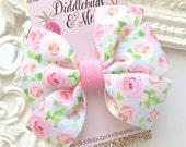 Pink Roses Pinwheel Bow, Girls Pink Roses Hair Bow, Roses Hair Bow, Pink Floral Hair Bow, Floral Roses Hair Bow, Girls Hair Accessory