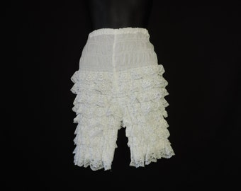ruffle tap panties white lace high waist rumba square dance shorts frilly sissy XL petticoat pants