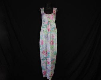 watercolor floral nightgown 60s summer nylon long gown impressionist roses small