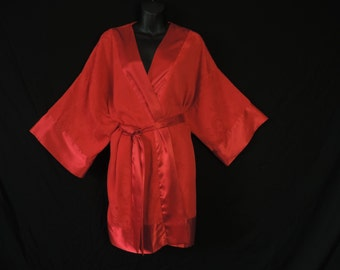red floral kimono robe vintage victoria's secret silky wrapper one size fits most OSFA