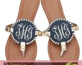 Monogrammed Medallion Sandals, Navy Medallion Flip Flops, Monogrammed Sandals, Personalized Sandals