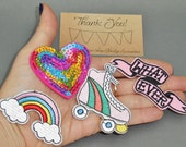 4 pc What Ever, Sequin Heart, Rainbow Roller Skate Iron On Patch Jacket Applique