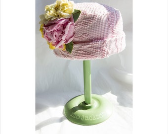 vintage chenille cloche / hat with handmade flower
