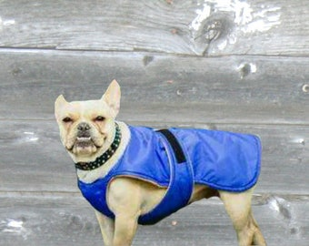 French Bulldog Winter Coat, custom made with tummy panel for your dog